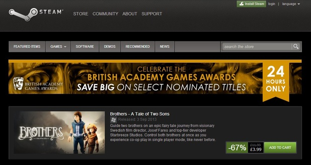 BAFTA Games Awards Steam sale