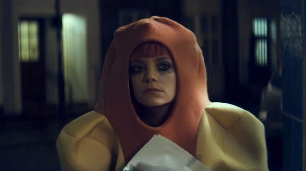 Lily Allen dressed as a hotdog in 'Our Time' music video.