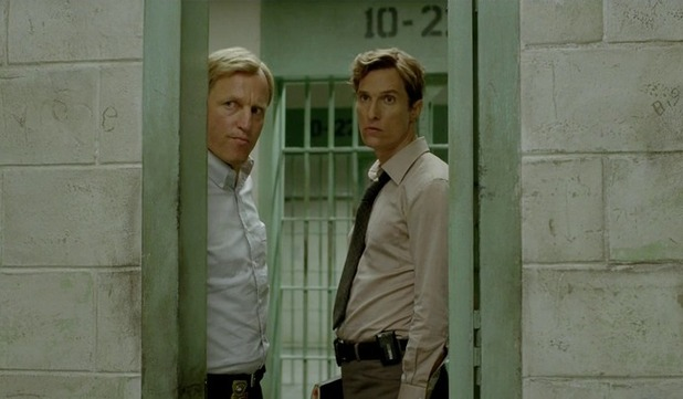 Woody Harrelson as Marty Hart and Matthew McConaughey as Rust Cohle in True Detective