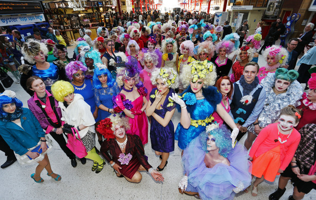 Hunger Games fans congregate at Marylebone Station for Effie Trinket flashbob