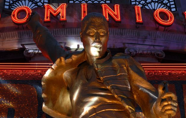 The Freddue Mercury statue adorned on the Dominion Theatre for We Will Rock You