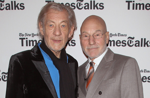 Sir Ian McKellen and Sir Patrick Stewart attend TimesTalks Presents: An Evening With Sir Ian McKellen and Sir Patrick Stewart