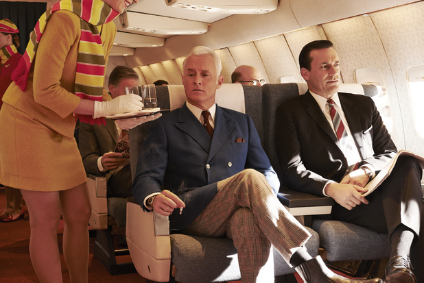 Roger Sterling (John Slattery) and Don Draper (Jon Hamm) in Mad Men season 7 still