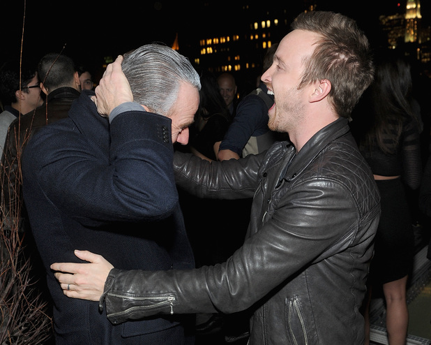 NEW YORK, NY - MARCH 11: Bryan Cranston and Aaron Paul attend DreamWorks Picture' 'Need For Speed' screening hosted by The Cinema Society and Bushmill's after party at Jimmy At The James Hotel on March 11, 2014 in New York City. (Photo by Jamie McCarthy/Getty Images)