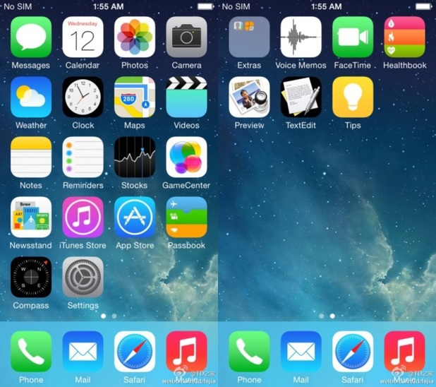 Purported leaked screenshot of iOS 8