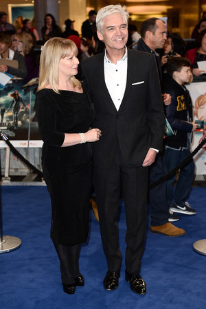 LONDON, ENGLAND - MARCH 20: Presenter Phillip Schofield and is wife Stephanie Lowe attend the UK Film Premiere of 'Captain America: The Winter Soldier' at Westfield London on March 20, 2014 in London, England. (Photo by Ian Gavan/Getty Images)