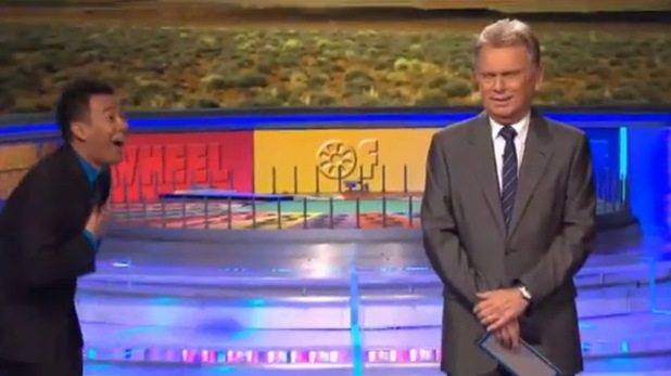 Wheel Of Fortune host Pat Sajak is shocked by a contestant's win.