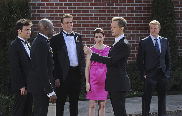 Josh Radnor as Ted, Wayne Brady as James, Jason Segel as Marshall, Alyson Hannigan as Lily, Neil Patrick Harris as Barney and Billy Zabka as himself in How I Met Your Mother: 'Gary Blauman'