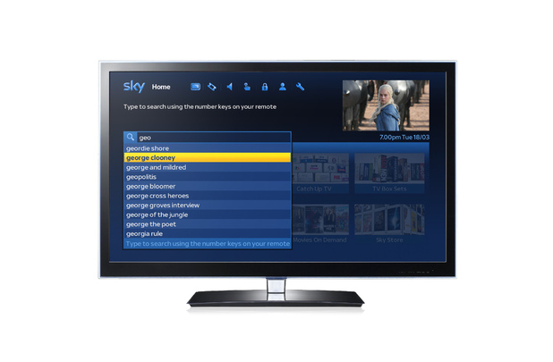 The new-look Sky+ homepage