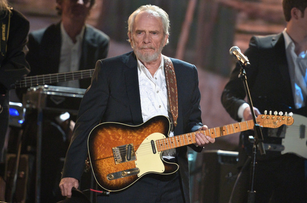 Merle Haggard performs onstage during the 56th GRAMMY Awards at Staples Center