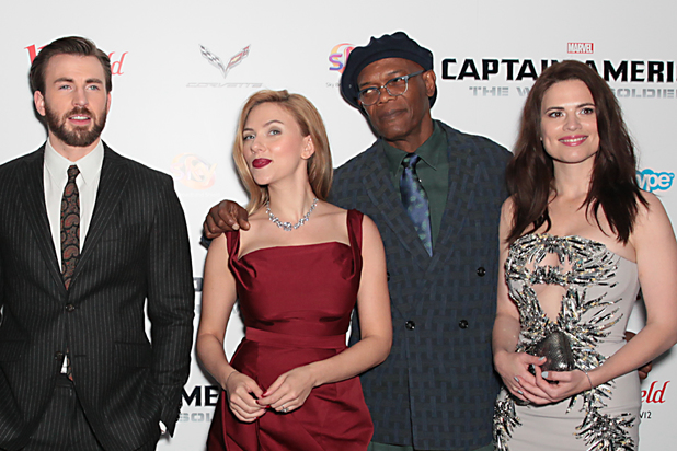 From left, actors Chris Evans, Scarlett Johansson, Samuel L. Jackson and Hayley Atwell pose for photographers at the UK premiere for the movie Captain America: The Winter Soldier in London, Thursday March 20, 2014. (Photo by Jon Furniss Photography/Invision/AP Images)