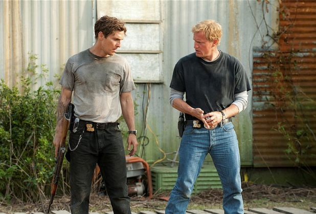 Matthew McConaughey as Rust Cohle and Woody Harrelson as Marty Hart in True Detective