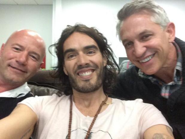 Russell Brand with Alan Shearer and Gary Lineker behind the scenes at Match of the Day