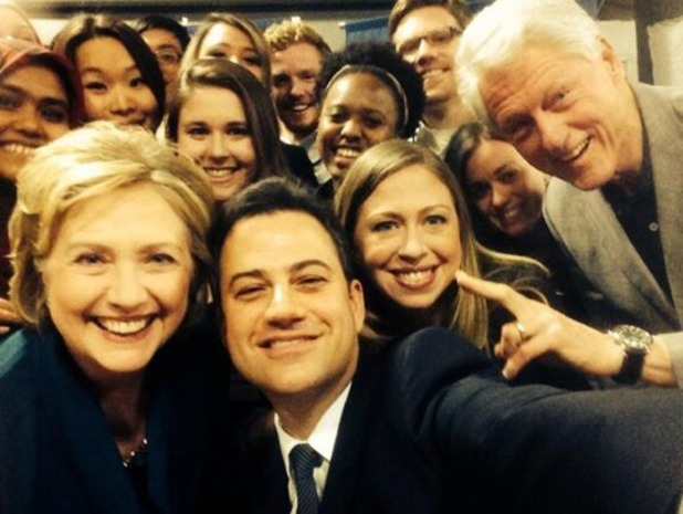 Jimmy Kimmel takes selfie with the Clintons