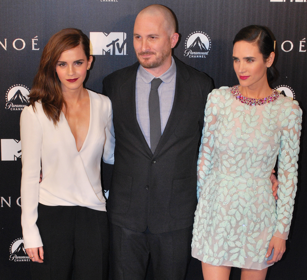 MADRID, SPAIN - MARCH 17: Darren Aronofsky, Jennifer Connelly (R) and Emma Watson (L) attend the 'Noah' (Noe) premiere at Palafox Cinema on March 17, 2014 in Madrid, Spain. (Photo by Europa Press/Europa Press via Getty Images)