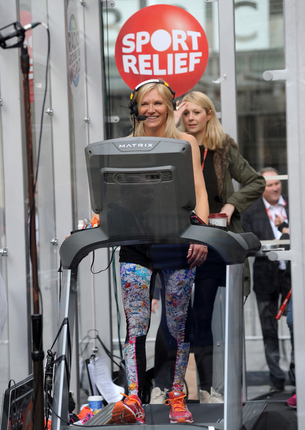 Jo Whiley takes part in a 26 hour treadmill run for Sports Relief at Radio 1 on March 20, 2014 in London