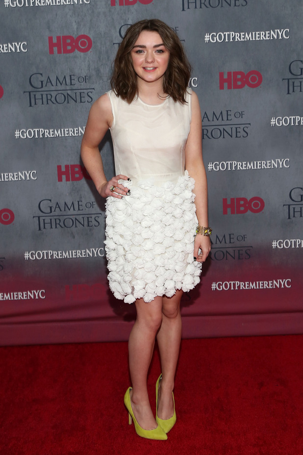 Maisie Williams attends the Game of Thrones season 4 premiere at the Lincoln Center, New York
