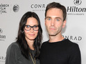 Cougar Town star and Johnny McDaid make rare appearance together at Tribeca festival party.