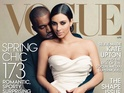 Kardashian wears a floor-length ivory gown in image shot by Annie Leibovitz.