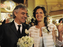 The opera singer weds his girlfriend of 12 years in Tuscany.