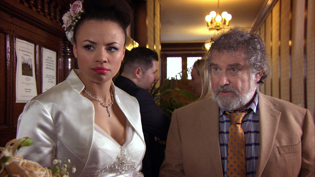Bonnie waits impatiently for Jonny at her wedding