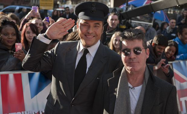 Britain's Got Talent judges Simon Cowell and David Walliams arrive for auditions at the Hammersmith Apollo in west London. Picture date: Tuesday February 11, 2014.