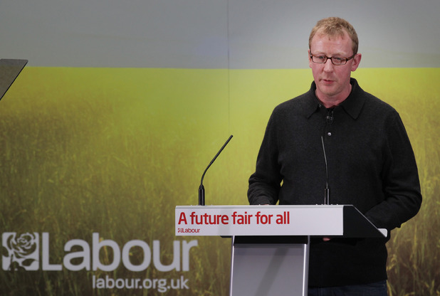 Blur drummer Dave Rowntree speaks at a Labour party event, April 2010