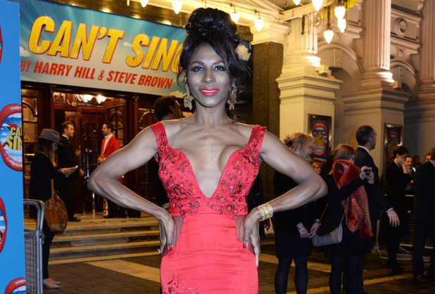 LONDON, ENGLAND - MARCH 26: Sinitta arrives at the press night performance of 'I Can't Sing! The X Factor Musical' at the London Palladium on March 26, 2014 in London, England. (Photo by David M. Benett/Getty Images)