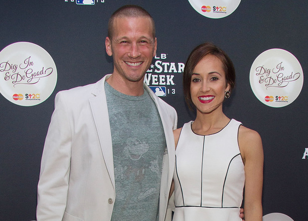 J.P. Rosenbaum and Ashley Hebert attend MLB Fan Cave 'Dig In And Do Good' Event