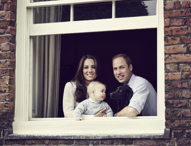Prince William, Catherine, Duchess of Cambridge (aka Kate Middleton) and Prince George with their dog Lupo, March 30, 2014