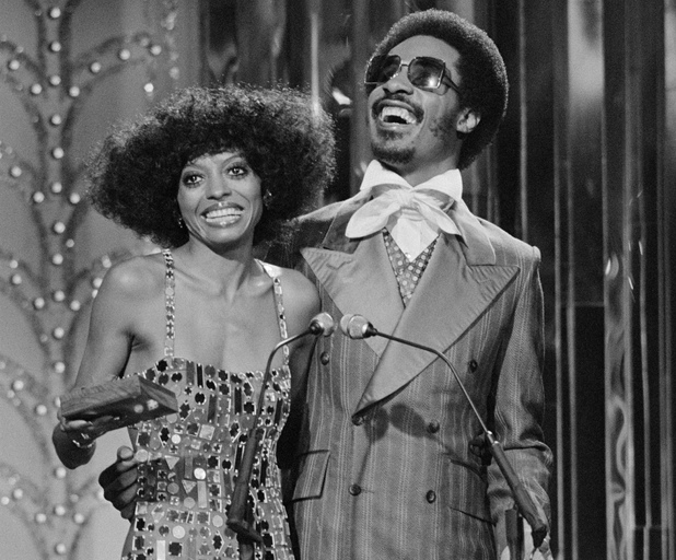 HOLLYWOOD - SEPTEMBER 18: Diana Ross and Stevie Wonder on the SECOND ANNUAL ROCK MUSIC AWARDS. Image dated September 18, 1976. (Photo by CBS via Getty Images)