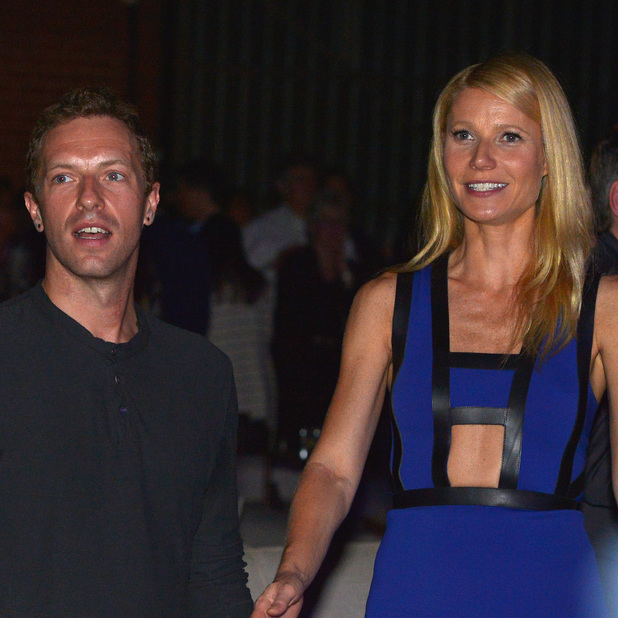 Chris Martin (L) and actress Gwyneth Paltrow attend Hollywood Stands Up To Cancer Event