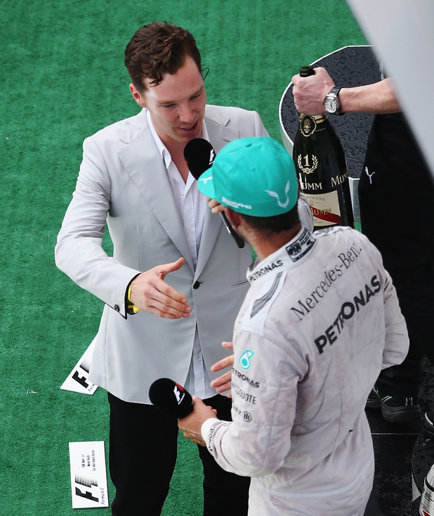 Benedict Cumberbatch interviews Lewis Hamilton after his victory at the 2014 Malaysian Grand Prix