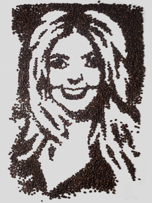 Holly Willoughby recreated with coffee beans