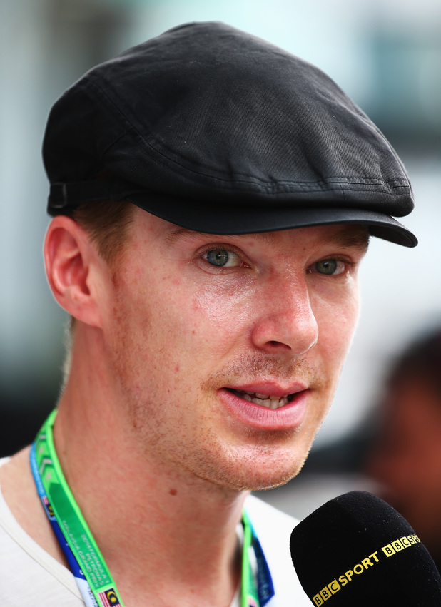 Benedict Cumberbatch in the pitlane during qualifying for the Malaysian Grand Prix