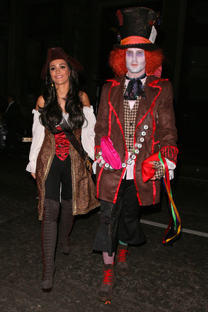 LONDON, UNITED KINGDOM - MARCH 29: Frankie Sandford and Wayne Bridge attend Rochelle Humes' Disney themed birthday party at Steam and Rye restaurant and club on March 29, 2014 in London, England. (Photo by Mark Robert Milan/FilmMagic)