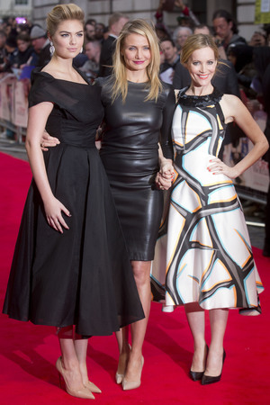 Caption:LONDON, UNITED KINGDOM - APRIL 02: Kate Upton, Cameron Diaz and Leslie Mann attend the UK Gala premiere of 'The Other Woman' at The Curzon Mayfair on April 2, 2014 in London, England. (Photo by Julian Parker/UK Press via Getty Images)