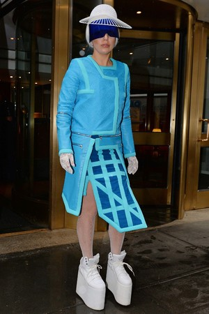 Lady Gaga out and about in New York, America - 28 Mar 2014 Lady Gaga in her blue suit
