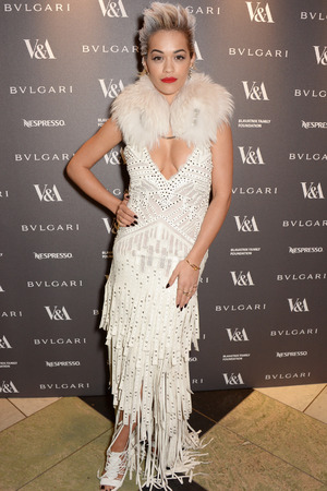 LONDON, ENGLAND - APRIL 01: Rita Ora attends a private dinner celebrating the Victoria and Albert Museum's new exhibition 'The Glamour Of Italian Fashion 1945 - 2014' at Victoria and Albert Museum on April 1, 2014 in London, England. (Photo by David M. Benett/Getty Images)