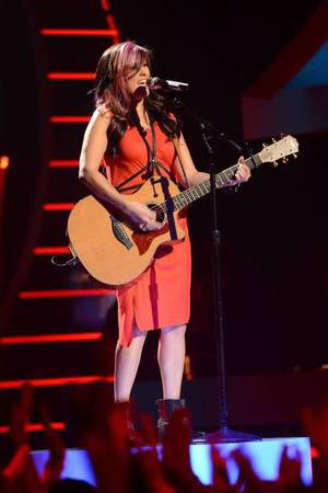 Jessica Meuse performs on American Idol as part of the Top 8 performances