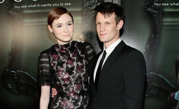 Caption:HOLLYWOOD, CA - APRIL 03: Actress Karen Gillan (L) and actor Matt Smith arrive at the screening of Relativity Media's 'Oculus' at TLC Chinese 6 Theatres on April 3, 2014 in Hollywood, California. (Photo by Mike Windle/Getty Images)