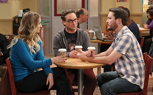 Kaley Cuoco-Sweeting as Penny, Johnny Galecki as Leonard and Wil Wheaton in The Big Bang Theory: 'The Indecision Amalgamation'