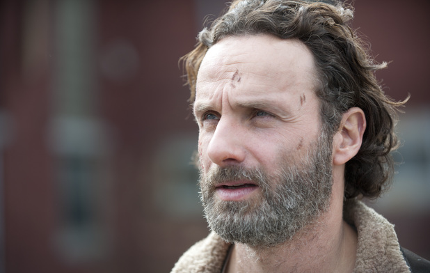 Andrew Lincoln as Rick Grimes in The Walking Dead S04E16: 'A'