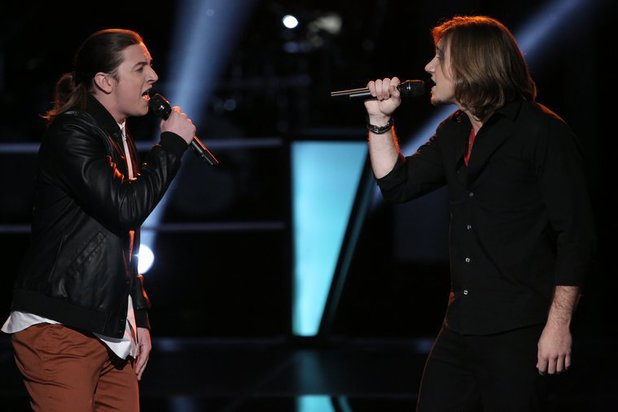 Stevie Jo and Morgan Wallen during The Voice Battle Rounds