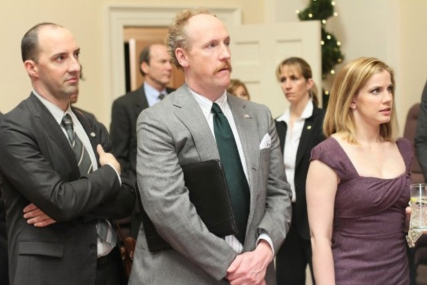 Tony Hale as Gary Walsh, Matt Walsh as Mike McLintock and Anna Chlumsky as Amy Brookheimer in Veep