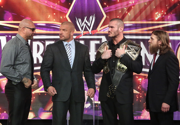 Dave Batista, Triple H, Randy Orton and Daniel Bryan