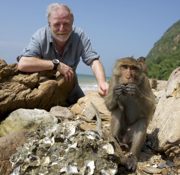 Dr George McGavin with a macaque on Monkey Planet