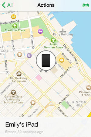 Find My iPhone - erased iPad