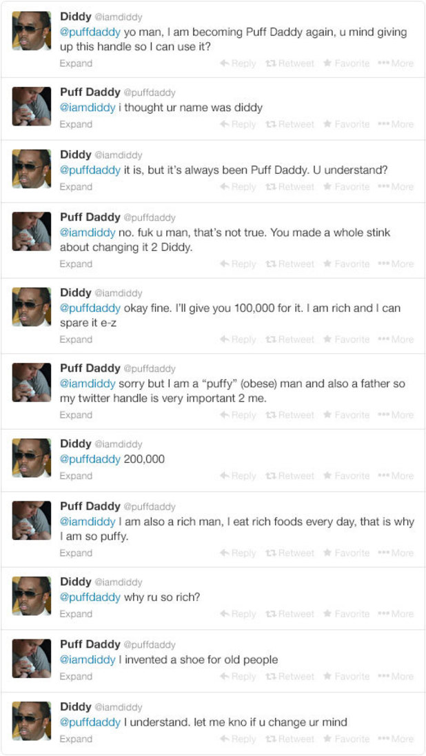 P Diddy attempts to get a 'Puff Daddy' twitter handle