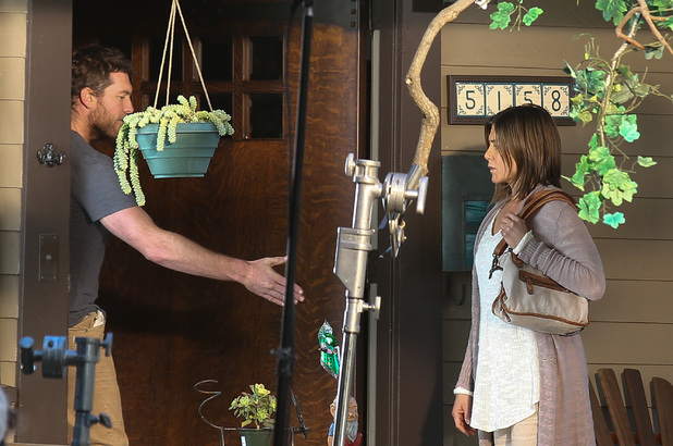 Caption:LOS ANGELES, CA - APRIL 07: Jennifer Aniston is seen filming 'Cake' on location on April 07, 2014 in Los Angeles, California. (Photo by GONZALO/Bauer-Griffin/GC Images)